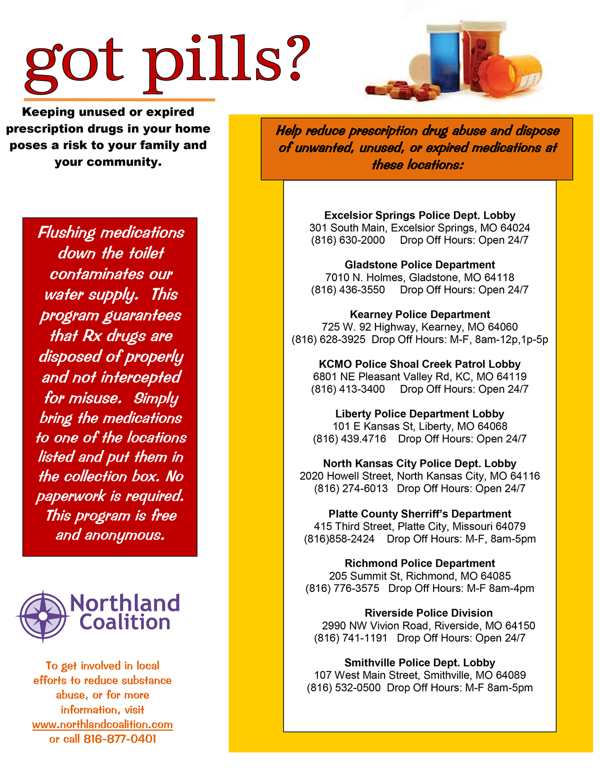 RX Take Back flyer with locations Edit